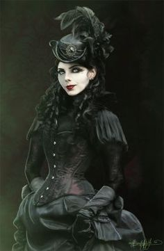Goth culture takes a lot of cues from the Victorian Era, when big dresses and big, elegant hair were in fashion. Here at Gothic.Life we love Victorian Goth! Gothic Mode, Gothic Art, Gothic Girls, Gothic Lolita, Gothic Corset, Viktorianischer Steampunk, Steampunk Fashion, Victorian Fashion, Steampunk Necklace
