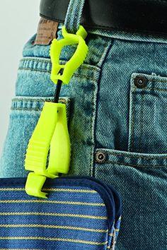"Glove Guard Clip, Safety Breakaway Belt Loop Attachment (1939HVYW) High Visability Neon Yellow 4.5"""