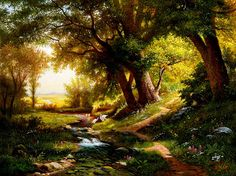 I can certainly say that almost everybody has dreamt of a place like this👀🙏 Bob Ross Paintings, Snow Scenes, Tree Forest, Summer Pictures, Art Techniques, Landscape Paintings, Fantasy Art, Country Roads, Drawings