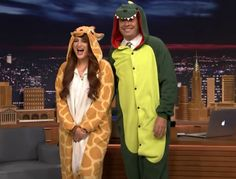 Image result for Meghan Trainor Gives Jimmy a Dinosaur Onesie