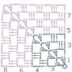 Crochet Squares, Crochet Stitches Free, Crochet Motif Patterns, Crochet Quilt, Granny Square Crochet Pattern, Crochet Diagram, Crochet Chart, Crochet Granny, Art Patterns
