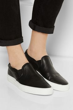 Common Projects|Perforated leather slip-on sneakers|NET-A-PORTER.COM