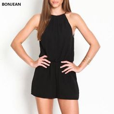 29ffd37c06 BONJEAN 2017 Rompers Women's Clothing Overalls Sexy Summer Brand Casual  Black Sleeveless Halter Keyhole Back Jumpsuit