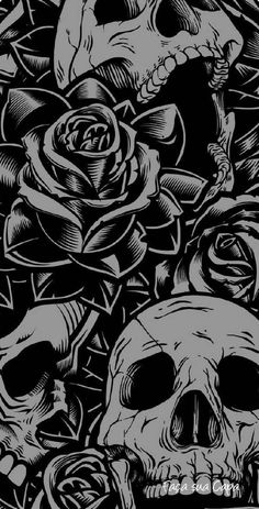 Skulls and Roses wallpaper by I_am_Ayush - 52 - Free on ZEDGE™ Skull Wallpaper Iphone, Ps Wallpaper, Phone Wallpaper Images, Wallpaper Backgrounds, Trendy Wallpaper, Wallpaper Quotes, Screen Wallpaper, Phone Backgrounds Tumblr, Beautiful Wallpaper