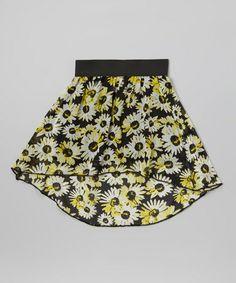 Look at this #zulilyfind! Yellow & Black Daisy Hi-Low Skirt by Zoe #zulilyfinds