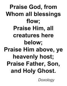 Doxology typography print Christian song lyrics hymn