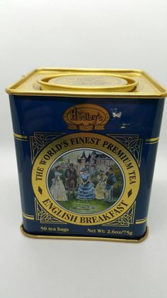 Hedleys English Tea Tin Blue Ceylon Breakfast Tea Square Box Lidded Collectible Advertising Retro Kitchen Glass Bottle General Store Props