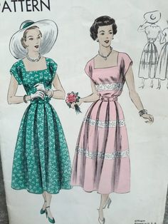 0844f1b4fc62 1940s Vintage Advance Sewing Pattern 4711 Teen Misses Dress or Gown ...