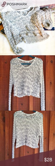 """KIMCHI BLUE Crochet Crop Top, Size Small KIMCHI BLUE Crochet Crop Top, Size Small Beige and grey top; material Cotton and acrylic blend. Chest measures 21"""", Sleeves are 21"""" from underarm and length is 19"""" from top of shoulder. Urban Outfitters Sweaters Crew & Scoop Necks"""