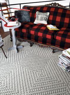 Buffalo plaid antique wood sofa