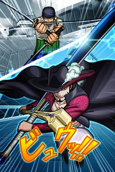 Kaizokugari no Zoro vs Taka no Me no Mihawk One Piece World, One Piece 1, One Piece Anime, Manga Anime, One Piece Photos, One Piece Wallpaper Iphone, One Piece Drawing, One Piece Chapter, Roronoa Zoro
