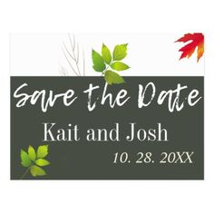 Falling Oak Leaves Maple Wedding Save the Date Postcard - diy cyo customize create your own personalize