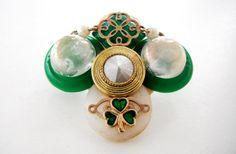Green Gold Pin St. Patrick's Day Jewelry Shamrock Pin by mscenna