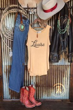"""- """"Louise"""" super soft vintage feel graphic tank - Draped vintage tan yellow tank - Distressed cursive graphic - Great fit and feel ~ you'll want to live in it, I promise - Made in the USA - Runs a hal"""