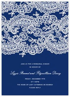 Filigree Lace (Tall) - Navy - Paperless Post