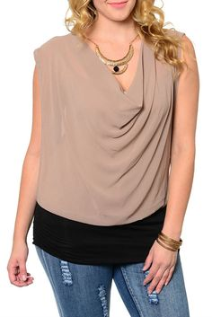 coffee black plus size trendy draped front sheer dressy top with necklace