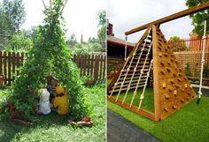 aire de jeux au jardin tipi cachette et mur d'escalade pyramidal