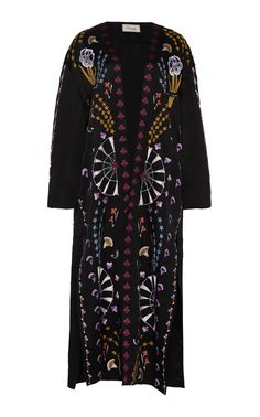 Temperley London Effie Embroidered Kimono Coat In Black Kimono Coat, Temperley, Cotton Jacket, Printed Cotton, Cool Designs, Style Inspiration, London, Clothes, Alexis Mabille