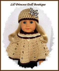 Made For American Girl Dolls, 2 Pc Crochet Poncho Set, Animal Print Hat, 18 Inch Doll Clothes