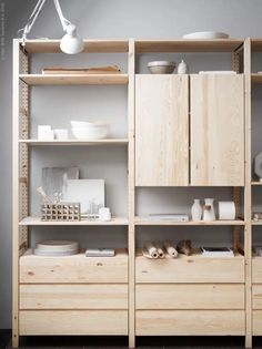"""Képtalálat a következőre: """"ikea ivar hack"""" Ivar Ikea Hack, Ikea Hacks, Ikea Ivar Shelves, Alcove Shelving, Shelving Units, Ikea Storage, Storage Hacks, Storage Ideas, Ikea Kitchen Storage"""