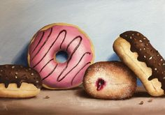 FineArtSeen - View Four Donuts by Jane Palmer. An original still life painting of donuts, perfect for foodies. Browse more art for sale at great prices. New art added daily. Buy original art direct from international artists. Shop now
