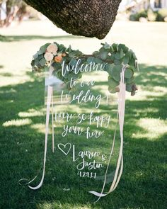 How cool is this welcome sign?! The plexiglass paired with the white calligraphy is simply perfect! | Photography: @annadelores | Event Coordination: @xoxobride | Floral Design: @idlewildfloral | Stationery: @goodheartdesign | Hair + Makeup: @teamhairandmakeup | Rentals: @foundrentals | Venue: @ojairesort
