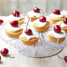 Impress your guests with this delicious mini cherry bakewell recipe from Dame Judi Dench Bakewell Pudding, Cherry Bakewell Recipe, Tart Recipes, Sweet Recipes, Dessert Recipes, Baking Recipes, Afternoon Tea Recipes, Afternoon Tea Cakes, Judi Dench