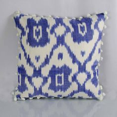 Midnight Blue and White Uzbek Ikat pattern pillow cover made of handwoven thick ikat fabric. Made of 100% cotton fabric, handwoven, handmade in India. Select: select your size  - Square or Lumbar shape cushion cover with matching envelope or zipper style closing back. - Inside is well interlocked to avoid any fraying, wash after wash. - Insert is not included.  Care Instructions: **Gentle hand wash or machine wash, do not tumble, do not dry in shade, wash dark colors separately**  Shipping…