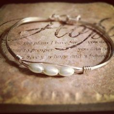 Silver Wire wrapped bracelet with 3 pearls