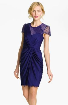 BCBGMAXAZRIA Lace Sleeve Gathered Jersey Dress available at #Nordstrom