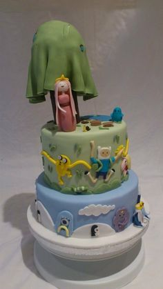 Adventure Time birthday cake - So Griffin wants a three layer, green, Adventure Time birthday cake this year....  Did I mention I'm due a week before his birthday?  Trouble....
