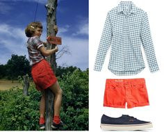 Tomboy Style:  summer outfit of the 1950s and 1960s.  Just recently remembered that girls didn't wear t-shirts--always a cotton blouse.  Madras bermuda shorts were typical in the early 1960s.