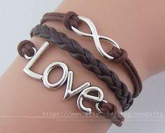 Love bracelet infinity bracelet antique silver charm by NewGifts, $3.50