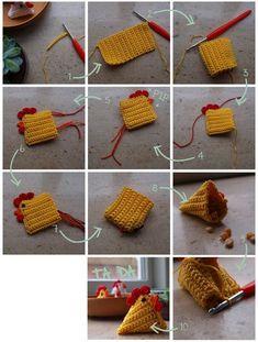 Super Easy Bunny from a Square – Crochet or Knit - Design Peak Crochet Diy, Crochet Amigurumi, Crochet Home, Crochet Crafts, Crochet Projects, Easter Crochet Patterns, Crochet Motifs, Knitting Patterns, Crochet Chicken