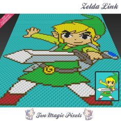 Looking for your next project? You're going to love Zelda Link inspired C2C crochet pattern by designer TwoMagicPixels.