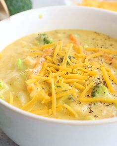 Lightened Up Cheddar Cauliflower Broccoli Soup Deliciously creamy lightened up cheddar cauliflower broccoli soup packed with veggies and incredible, cheesy flavor! This low carb soup is healthy comfort food at its finest. Broccoli Cauliflower Soup, Broccoli Soup Recipes, Cauliflower Recipes, Vegetarian Recipes, Cooking Recipes, Healthy Recipes, Kitchen Recipes, Califlower Soup Recipes, Healthy Broccoli Soup