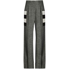 Max Mara Gitano trousers (35.485 RUB) ❤ liked on Polyvore featuring pants, bottoms, trousers, dark grey, maxmara pants, wide leg trousers, wool trousers, dark gray pants and striped wide leg pants