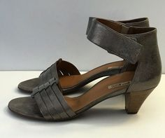 PAUL GREEN Leather Sandals Size 6.5 US 9 Ankle Strap Gray Taupe AUSTRIA $285 #PaulGreen #AnkleStrap