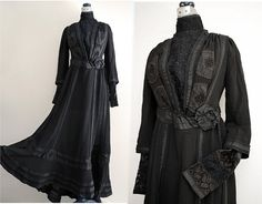 Edwardian Mourning Dress // 1900s Black by VintageDevotion on Etsy, $195.00