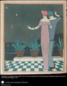 """Illustration by George Lepape (1887-1971) from """"Les choses de Paul Poiret Vues par Georges Lepape"""", Paris: Pour Paul Poiret par Marquet, 1911."""