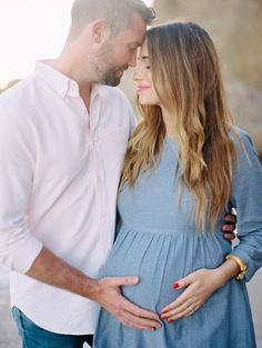 Sharing the maternity photos we shot at the beach with Ryan Ray on M Loves M. I wore a chambray babydoll dress and simple hair and makeup.