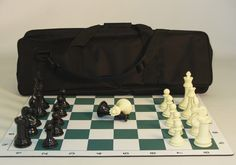 """Plastic 4"""" Triple wtd tourn. Men DQ Thick Mat Board 23"""" Black Padded Tote Handle & Strap BAG23 Type: Tournament Chess Set Weight: 5.5 lbs. Shipping: 3 - 5 days"""
