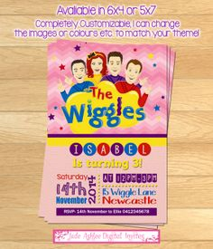 The Wiggles Birthday invitation Girls by JadeADigitalInvites Wiggles Birthday, Wiggles Party, The Wiggles, 3rd Birthday Parties, 2nd Birthday, Birthday Ideas, Kendall Birthday, 1st Birthday Invitations