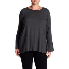 Bobeau Ribbed Bell Sleeve Top (Plus Size) ($25) ❤ liked on Polyvore featuring plus size women's fashion, plus size clothing, plus size tops, charcoal, plus size, knit top, bell sleeve tops, bobeau tops, long tops and long sleeve scoop neck top