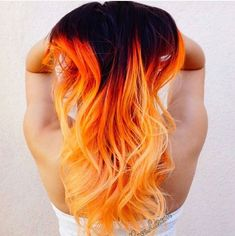 Black to orange ombre