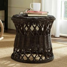 Finish off your coastal, farmhouse, or tropical décor with the rustic chic look of the Safavieh Desta Wicker Round Accent Table . Wicker Couch, Wicker Mirror, Wicker Headboard, Wicker Shelf, Wicker Bedroom, Wicker Tray, Wicker Furniture, Wicker Baskets, Wicker Dresser