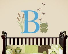 Frog Wall Decal Set - Monogram Vinyl Decal - Nursery Children