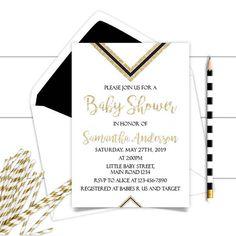 Printable Neutral Gold Black Baby Shower InvitationGold Black