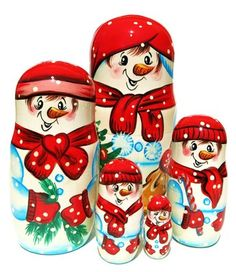 Jolly snowman is hand painted on this beautiful 5 piece Russian matryoshka nesting doll. Limited stock. Buy one today. Free US Shipping on orders $50+