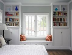 Just love the window seat and bookcases. Built-ins are one of my favorite things in a house. This window seat needs a cushion. Sweet Home, Character Home, Built In Seating, Floor Seating, Wall Seating, Banquette Seating, Extra Seating, Built In Bookcase, Bookshelf Ideas